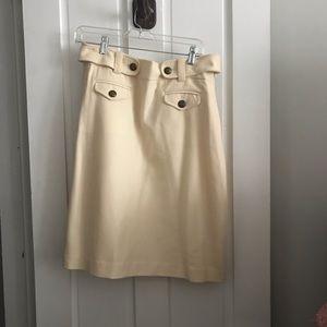 JCrew Wool Cream Skirt w Buttons-Sz 10